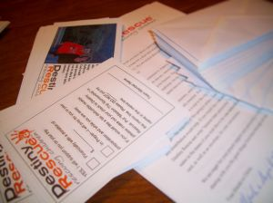 Sponsor cards, prayer cards, and support letters